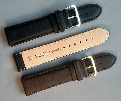 Black Brown Mens Ladies High Quality Padded Leather Watch Strap Band and Buckle