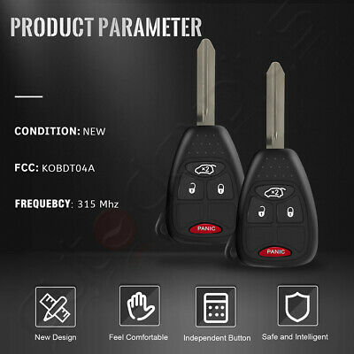 2 Replacement Uncut Remote Key Keyless Entry Combo Transmitter Fob for KOBDT04A