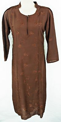 "Long Sleeve A-Line Brown Self-Embroidered Full Length Dress/robe, 48"", Tr049"
