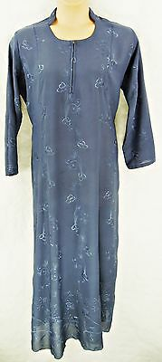 "Long Sleeve A-Line Mid-Blue Self-Embroidered Full Length Dress/robe, 48"", Tr050"