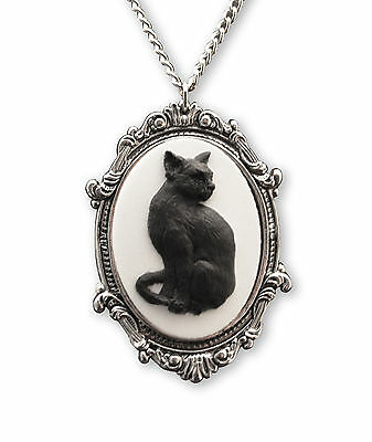 Black Cat Cameo in Antique Silver Pewter Frame Pendant Necklace NK-653