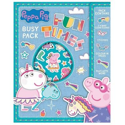 Peppa Pig Busy Pack Figures Colouring Book Stickers Colour Activity Rainy Day TV