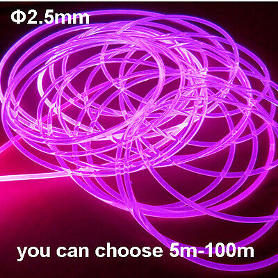 Side Glow PMMA Fiber Optic Cable 5-100meters 2.5mm  for car use atmosphere Light