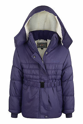 New Girls Coat School Padded Hooded Jacket Age 2-3 years Waterproof Purple