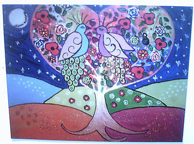 "Fridge Magnet, The Tree of Love and the peacocks  Quirky large  4.25"" x 5.5"""