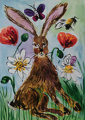 "Fridge Magnet, Funny Hare among flowers  large Magnet  4.25"" by 5.5"""