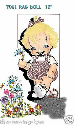 "Little Girl Rag Doll Pattern with Outfit 12"" Vintage  - 3 dimensional No. 7061"