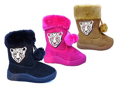 WHOLESALE LOT 36 Pairs New Girls Winter Leopard Medallion Pom-pom Bootie-295