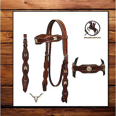 Western Headstall~ Navajo Design~Basket Tooling With Rawhide & Quick Change Ends