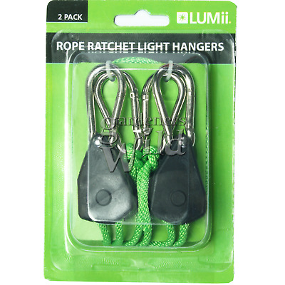 LUMii Rope Ratchet Light Hanger Adjustable Pulley Grow Lights Hydroponic 2 Pack