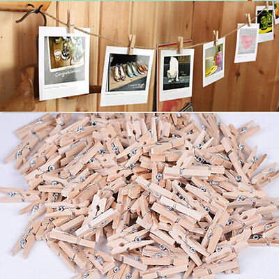50pc TIC# Mini Natural Wooden Clothe Photo Paper Peg Clothespin Craft Clips 25mm