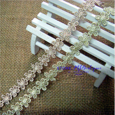 1 Yard Gold Flower Embroidered Applique Lace Trim Ribbon Sewing Handicrafts FP09