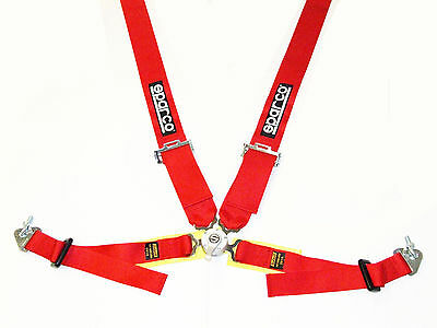 """Sparco Competition 4 Point Snap-In 3"""" Seat Belt Harness with Camlock (Red) FIA"""