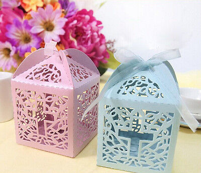 24x PINK or BLUE BABY SHOWER, CHRISTENING FAVOUR BONBONNIERE BOXES