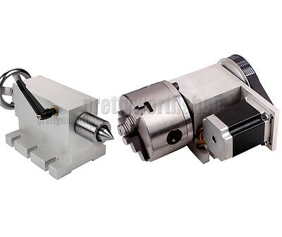 CNC 4th Axis Rotary Router Rotational Axis 3 Jaw 100mm Chuck+Wood Tailstock