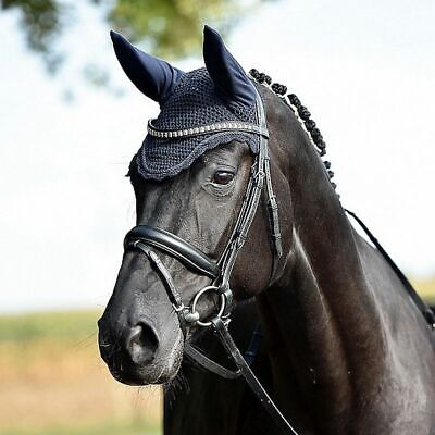Busse Elegant Jersey Fly Veil Horse Ear Bonnet Cotton Crochet with Stretch Ears
