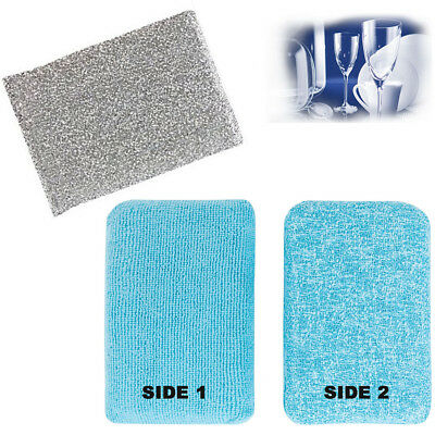 2 Scourer Sponge Pad Cleaning Kitchen Scrubber Non Stick Dual Action Scrub Set
