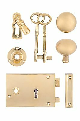 Solid Brass Rim Lock Set With Doorknobs, Key Escutcheon, & Rosette