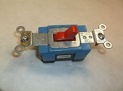 Lot of (5) LEVITON 1201-2R Wall Switch, 1-Pole, Toggle Red 13N282, (D15J)