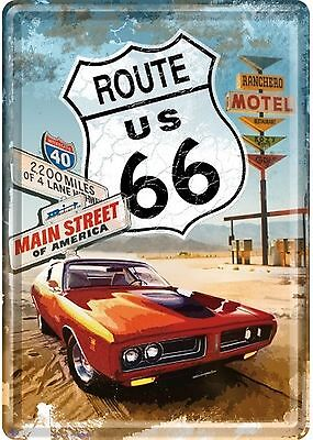 Nostalgic Art Route 66 Motel with red Car Main Street of America Blechpostkarte