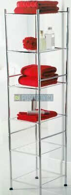Chrome 6 Tier Bathroom Shelf Organiser Free Standing Storage