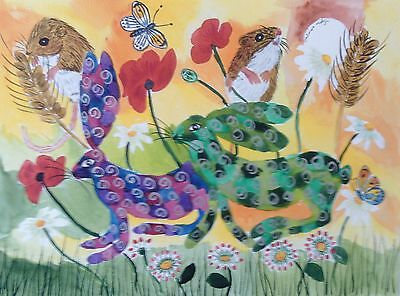 "Fridge Magnet, Quirky Hares and mice among flowers large  4.25"" by 5.5"""