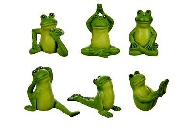 My Fairy Gardens Miniature - Backyard Yoga Frogs Set of 6 - Supplies Accessories