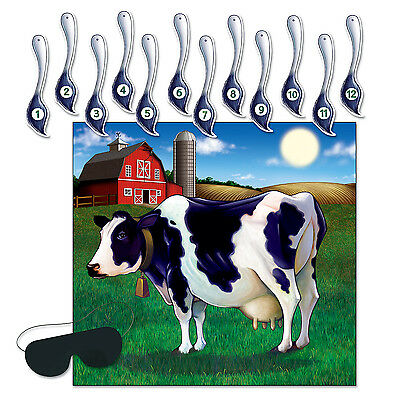 PIN THE TAIL ON THE COW Blindfold Game Barnyard Farm Birthday Party