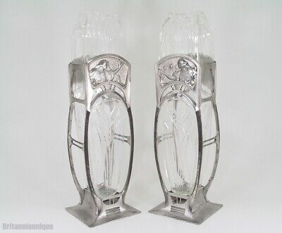 DIVINE WMF ART NOUVEAU & GLASS YOUNG MAIDENS & BLOSSOMS PAIR of VASES