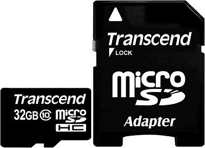 Transcend 32GB MicroSDHC Flash Memory Card with Adaptor (Class 10)