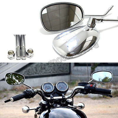 Pair Chrome Motorcycle Oval Rearview Side Mirrors 10Mm For Honda Suzuki Kawasaki