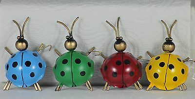 Set Of 12 Metal Ladybirds, 4 Assorted, 3 Of Each, Party Favours, Ornaments