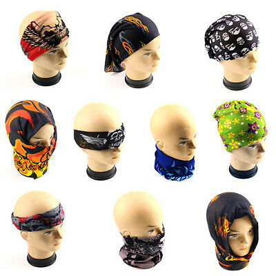 Head Face Mask Multi Wear Cotton Tube Bandana Durag Biker Motorcycle Scarf AU