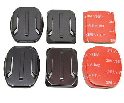 4x Flat & Curved Helmet Mounts 3M Adhesive Pads Sticky For GoPro Hero 1 2 3 3+ 4