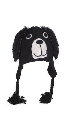 Black Dog Animal Hat / Mittens - HANDMADE by Pachamama - one size (3-7 years)