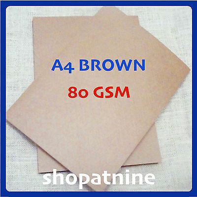 20 x A4 Brown Kraft Paper Sheet 80 GSM Card Natural Recycled Invitation Wedding