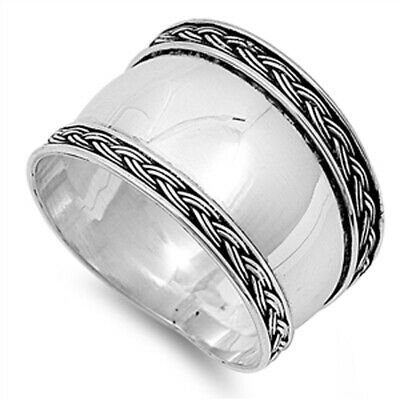Women's Bali Wide Ring New .925 Sterling Silver Thin Rope Design Band Sizes 5-12