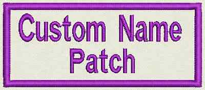 "4 Custom Embroidered, Name Tag, Biker Patch, badge 3.5"" x 1.5"" Iron On or Sew On"