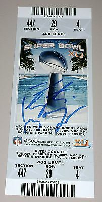 2007 Super Bowl XLI 41 Ticket Peyton Manning Signed STEINER Auto Colts Bears MVP