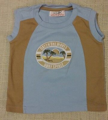 """""""Early Days"""" Baby Boys Blue & Brown Top 12-18 Months"""