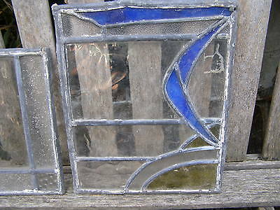 Antique Lead Stained Glass Boomerang Door Panel Window