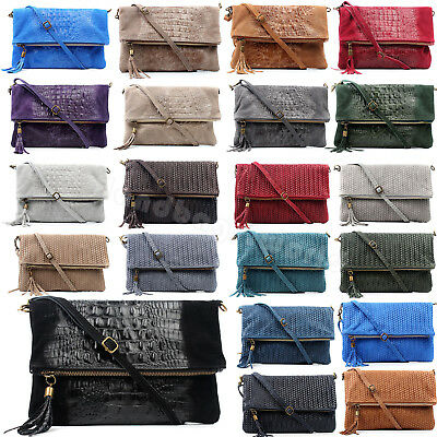 New Ladies Fold Over Italian Genuine Leather Zipped Clutch Bag Message Cross Bag