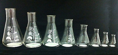 CONICAL FLASKS Beakers set of 8 sizes- 5,10,25,50,100,150,200,250ml glass
