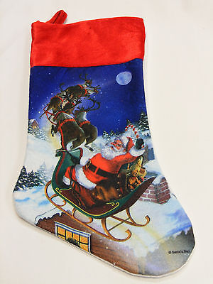 Santa Claus In Sleigh Flying W/ Reindeer Felt Christmas Stocking Xmas Holiday