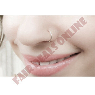 Delicate Clip On Fake Silver Extra Thin Small Nose Ring Hoop 4 Non Pierced Nose