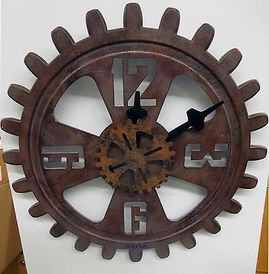 """Bulova Wall Clock - Industrial Design- Antique Finished Gear - """"Motion"""" C4373"""