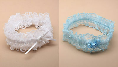 Ladies Lacy Bridal Garter with Bow Detail Hen Night Wedding Bride White or Blue