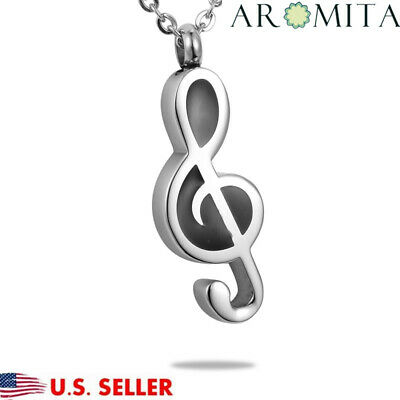 Musical Note Cremation Jewelry Keepsake Memorial Urn Necklace Ashes Holder