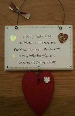 Personalised Handmade Godparents Thankyou sign wooden plaque