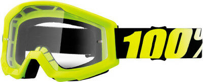 100 Adult MX ATV BMX Goggles Strata Neon Yellow With Clear Lens 50400-004-02